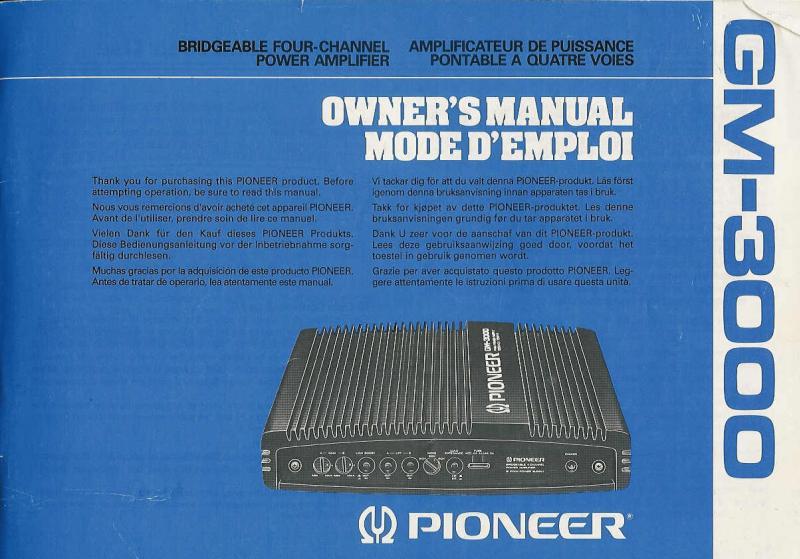 Pioneer Gm 3000 Wiring Diagram Wiring Diagram